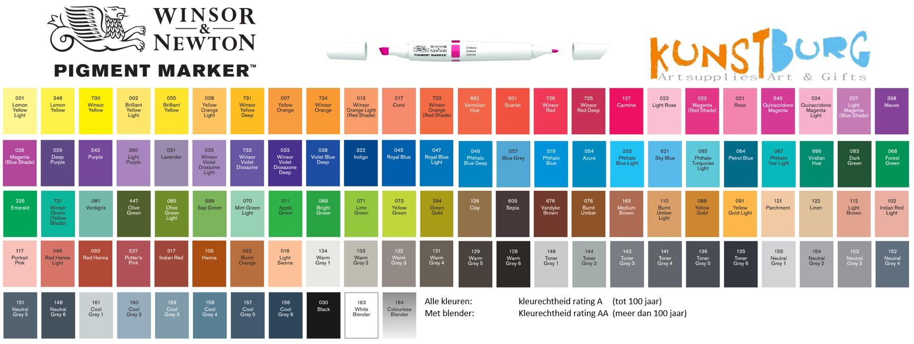 Kleurenkaart Pigment Marker van Winsor en Newton