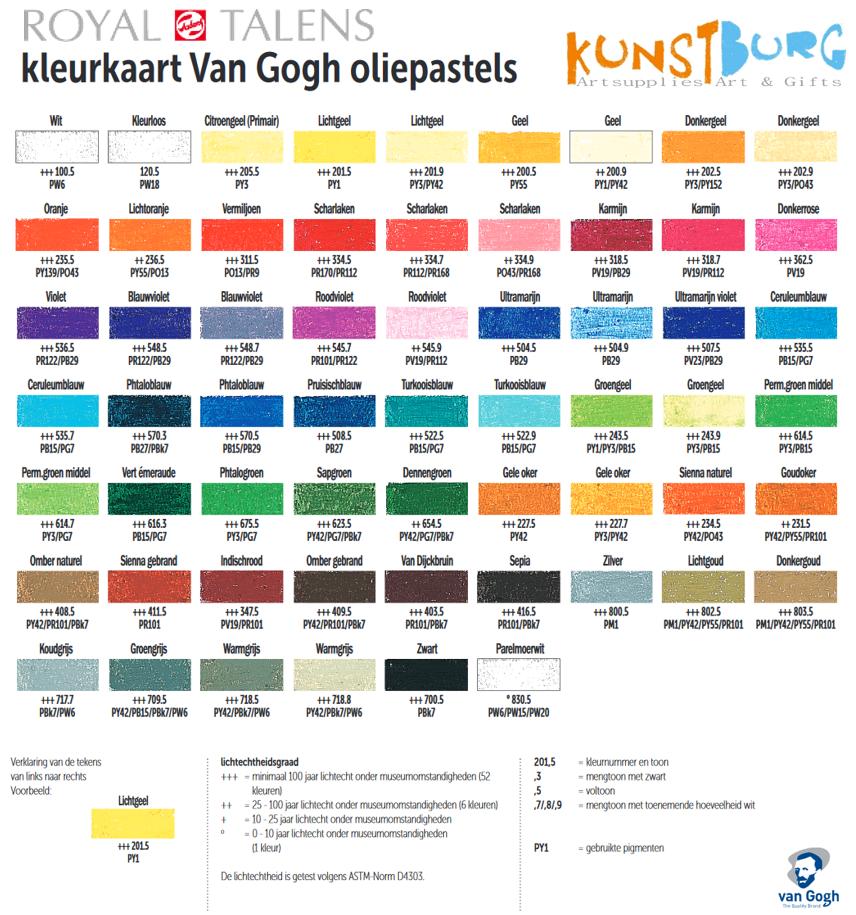 Van Gogh oliepastel kleurenkaart