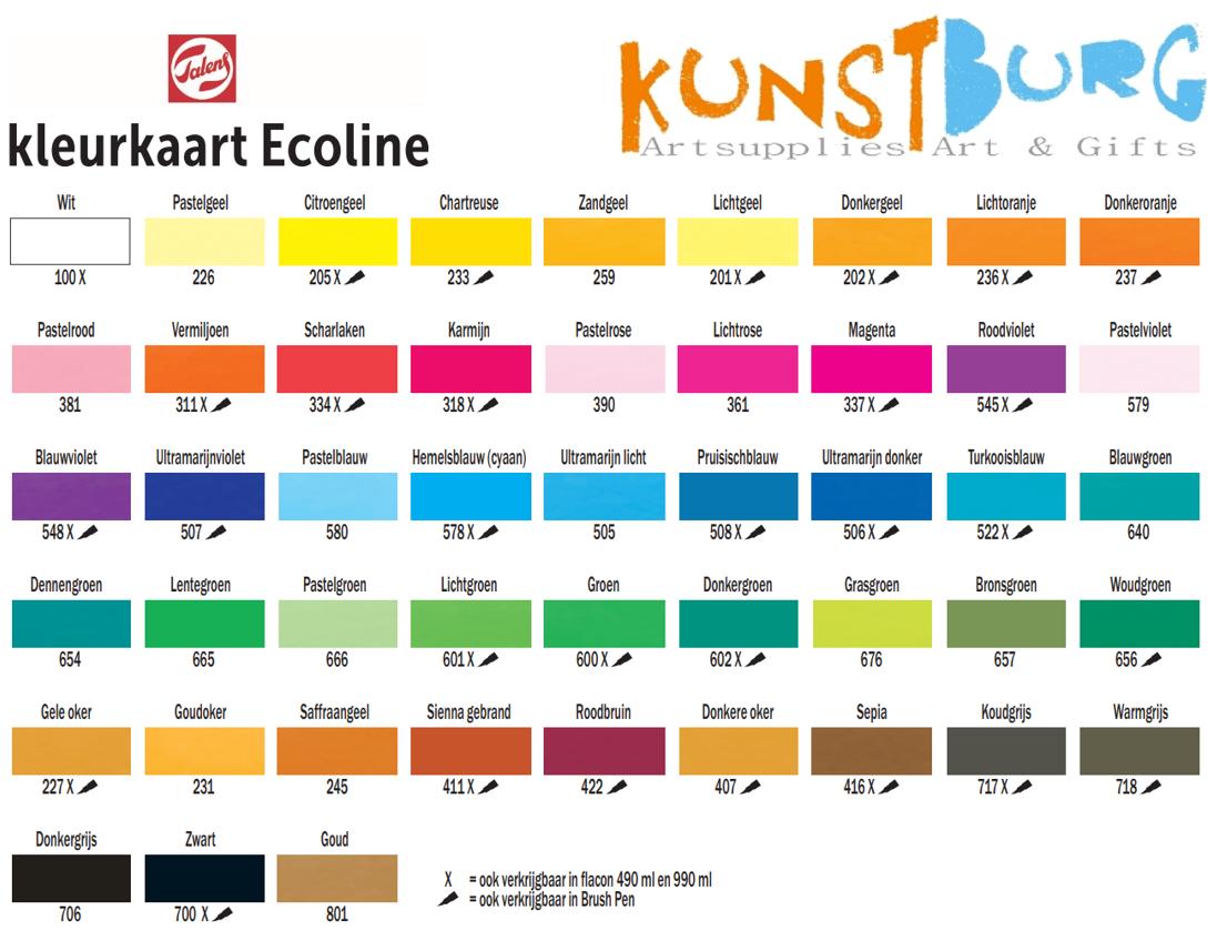 Kleurenkaart Talens Ecoline