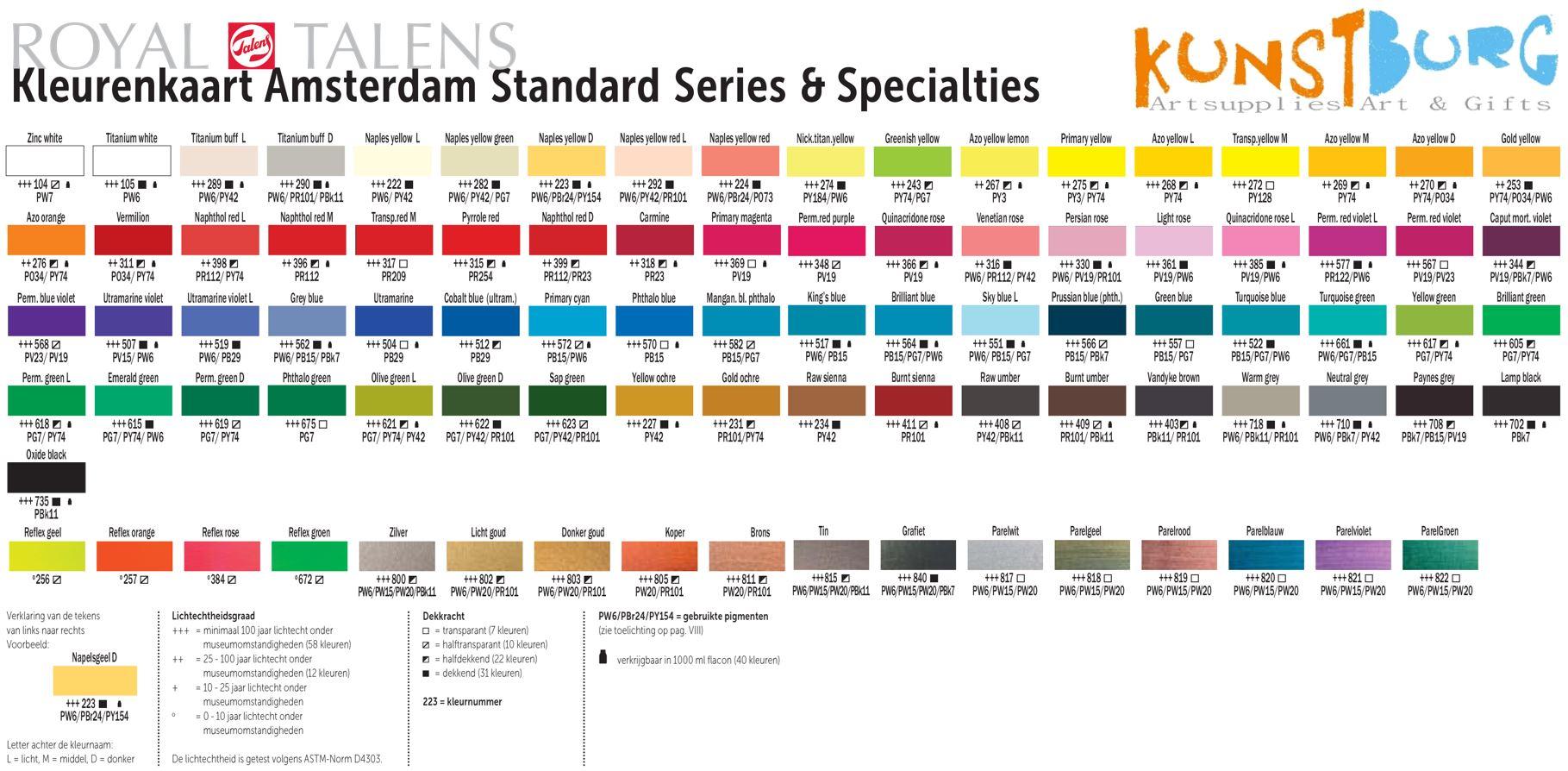 Kleurenkaart Amsterdam Standard Series