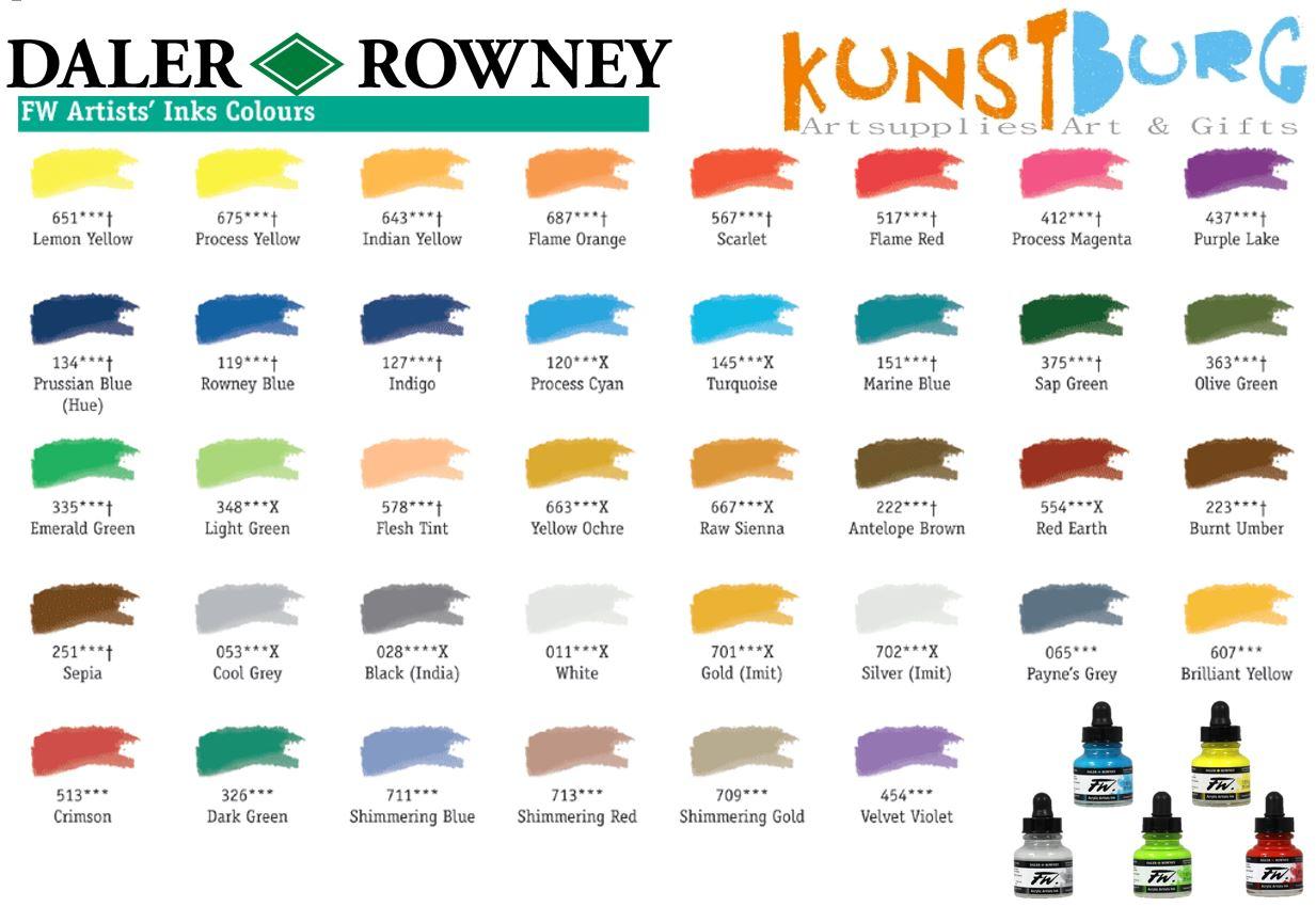 Kleurenkaart Daler Rowney Ink FW Artists inks colours Kunstburg