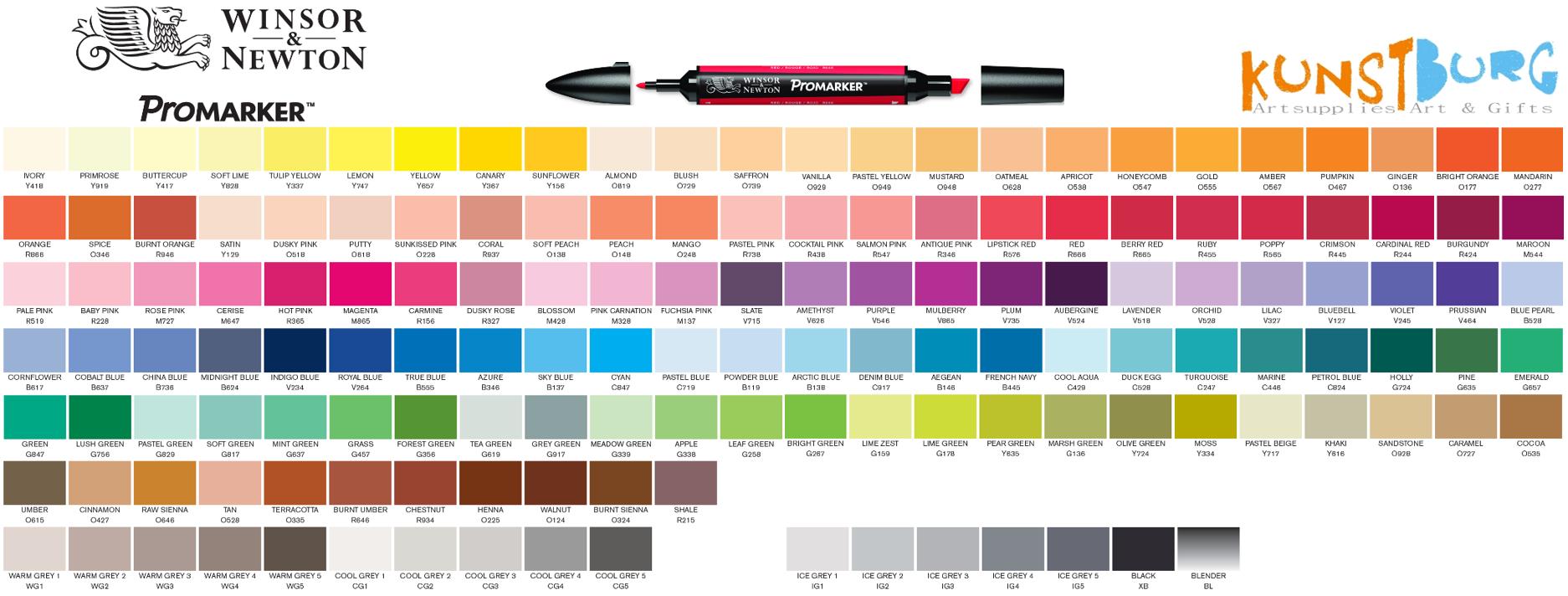 Kleurenkaart Winsor & Newton Promarker