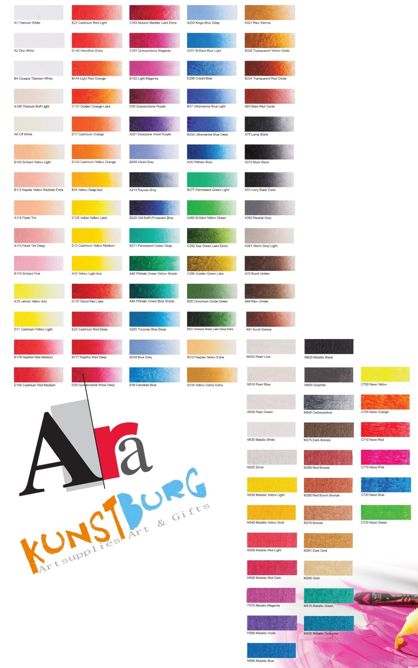 Kleurenkaart Ara Acrylverf