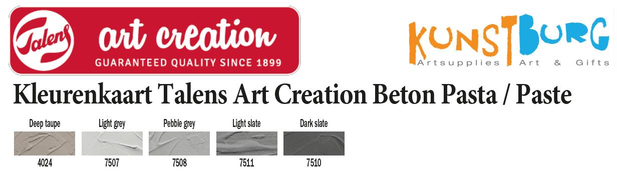Kleurenkaart Art Creation Beton Pasta / Paste van Royal Talens. Te koop bij Kunstburg.nl