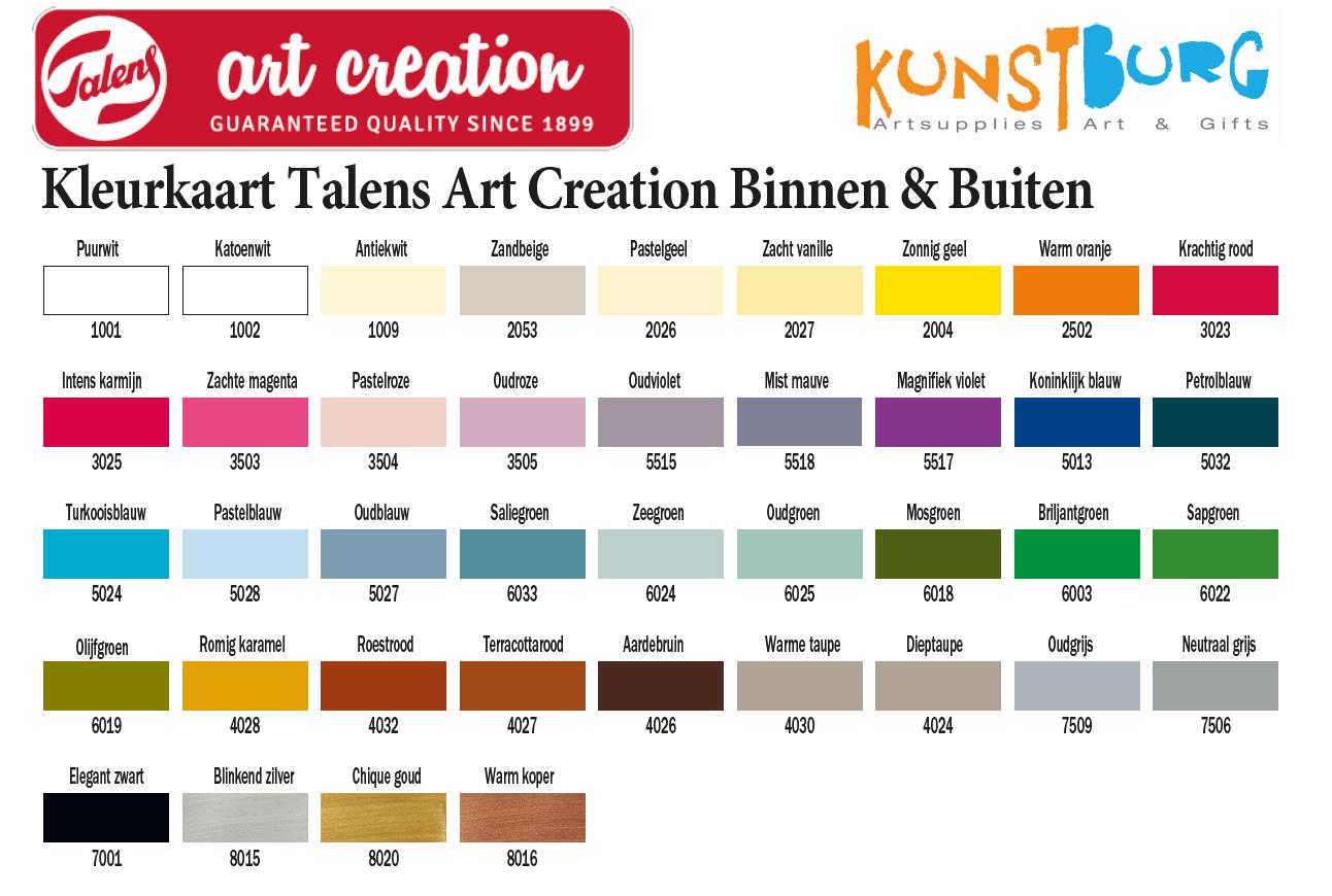 Kleurenkaart van Art Creation 'Binnen & Buiten' te koop bij Kunstburg.nl