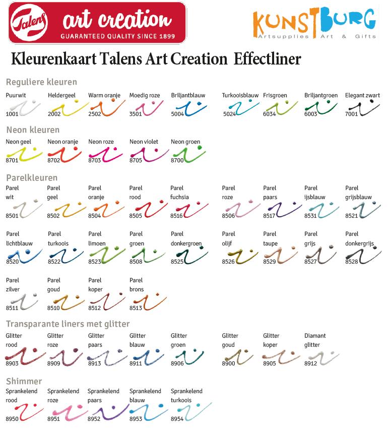 Kleurenkaart  Effectliner van Royal Talens Art Creation. Te koop bij Kunstburg.nl