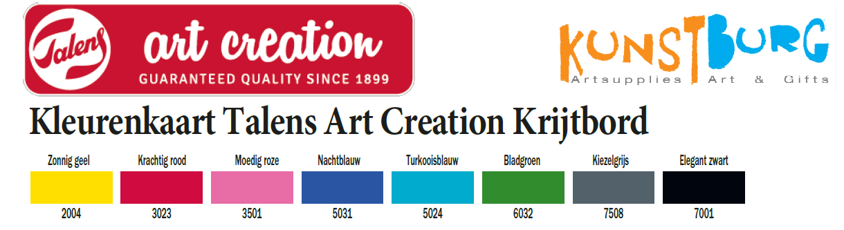 Kleurenkaart van Talens Art Creation Krijtbord verf. Te koop bij Kunstburg.nl, kunstenaars in materialen.