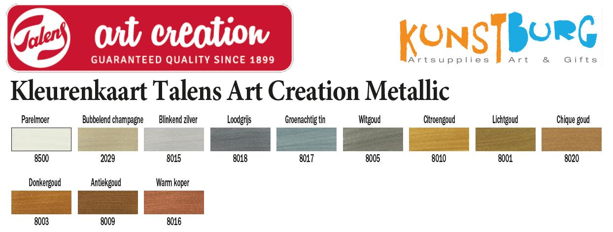 Kleurenkaart Metallic verf van Art Creation. Te koop bij Kusntburg.nl, kunstenaars in materialen.