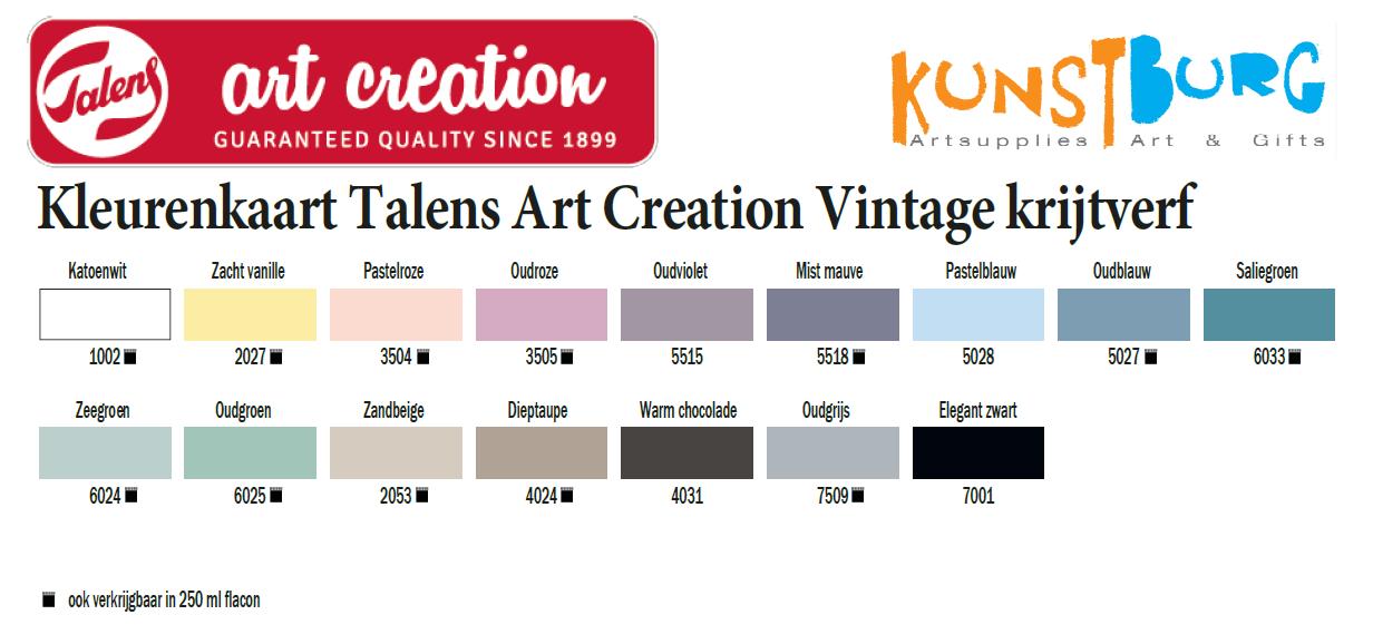 Kleurenkaart Talens Art Creation Vintage krijtverf te koop bij Kunstburg.nl