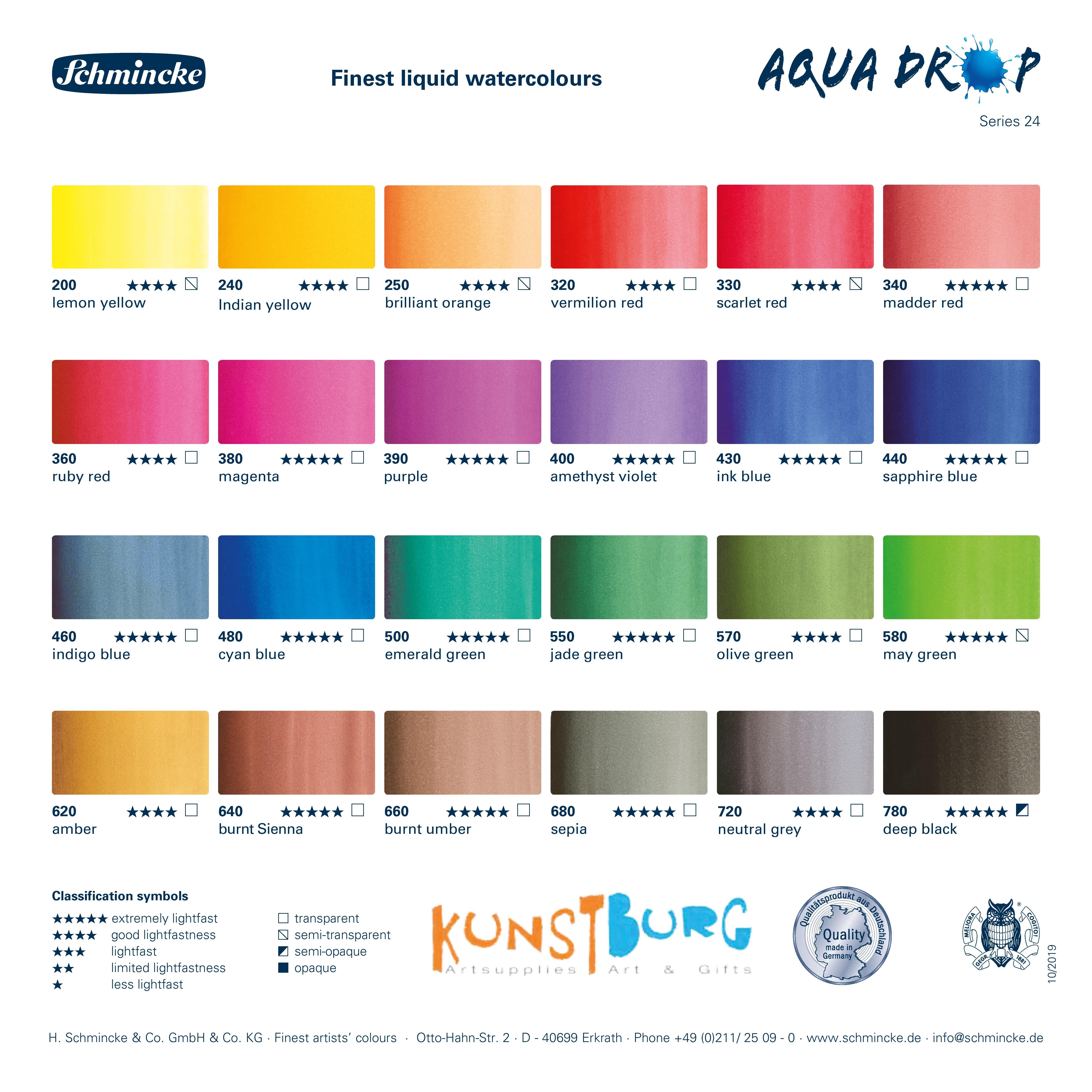 Kleurenkaart voor Aqua Drop van Schmincke. Te koop bij Kunstburg in Doesburg. Kunstburg, kunstenaars in materialen.