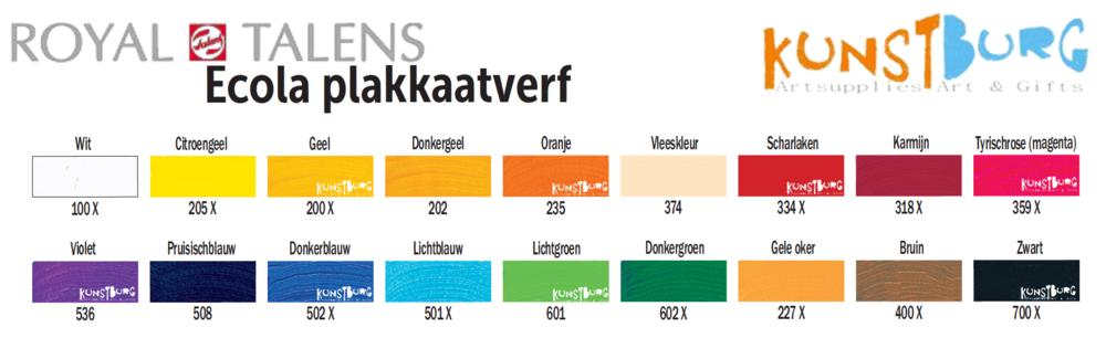 Ecola Plakkaatverf kleurenkaart. Ecola van Royal Talens, te koop bij Kunstburg.