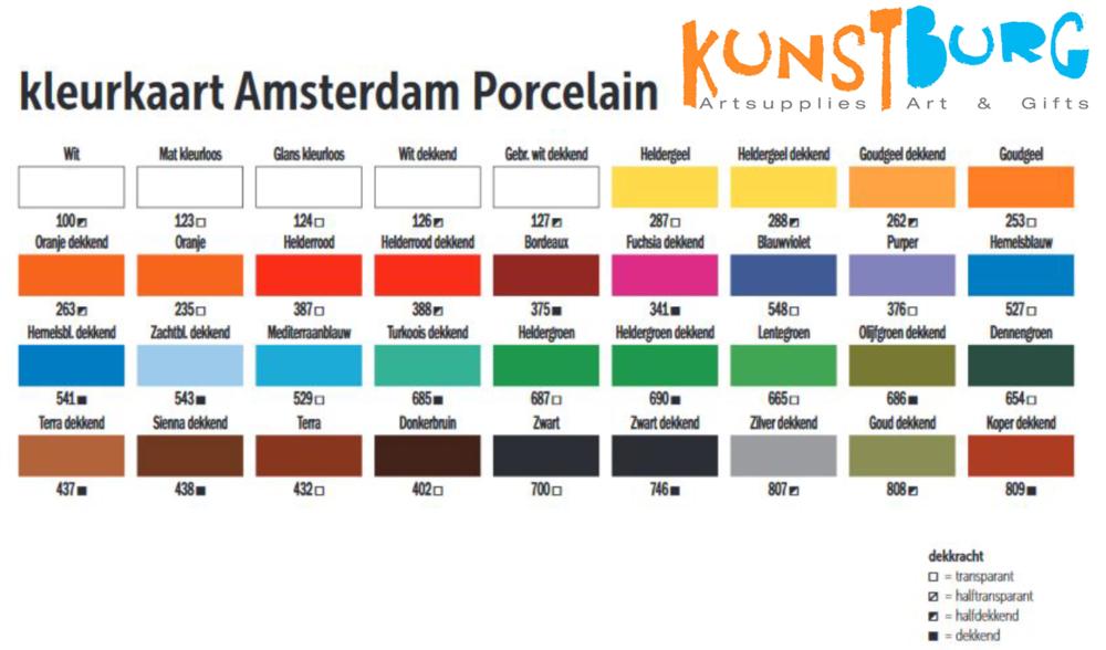 Kleurenkaart van Amsteredam Deco Porcelain verf. Te koop bij Kunstburg.