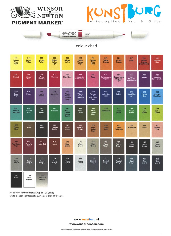 Kleurenkaart van de Pigment Marker van Winsor & Newton. Te koop bij Kunstburg.nl