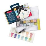 12 kleuren in halve napjes Metallic Paint 12 Pan Travel set van Derwent_