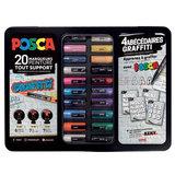20 Posca Markers 'Graffiti' set Verfmarkers voor elke ondergrond in metalenkoffer_6
