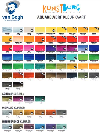 Van Gogh Aquarelverf kleurenkaart te koop bij Kunstburg. Kunstburg, kunstenaars in materialen