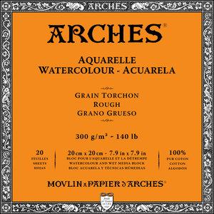 20x20cm Grain Tochon / Rough Aquarelblok van Arches® 100 % Katoen 300g/m²