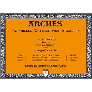 36x51cm Grain Tochon / Rough Aquarelblok van Arches® 100 % Katoen 300g/m²