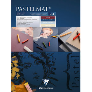 Pastelmat No 4 Pastel Papier verlijmd Blauw Rood Zand kleuren fijne structuur 12 vellen van Clairefontaine 360 grams 18 x 24 cm