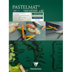 Pastelmat No 5 Pastel Papier verlijmd Groen Blauw  Wit kleuren fijne structuur 12 vellen van Clairefontaine 360 grams 30 x 40 cm