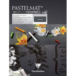 Pastelmat No 6 Pastel Papier verlijmd Antraciet fijne structuur 12 vellen van Clairefontaine 360 grams 18 x 24 cm