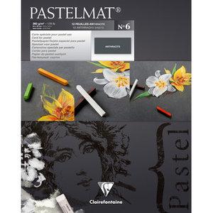 Pastelmat No 6 Pastel Papier verlijmd Antraciet fijne structuur 12 vellen van Clairefontaine 360 grams 24 x 30 cm