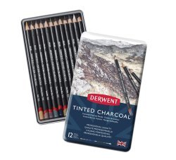 Derwent Tinted Charcoal Set 12 houtskoolpotloden in metalen etui