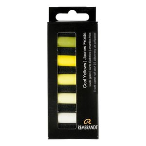 Koele Gelen set met 5 halve Rembrandt Softpastels