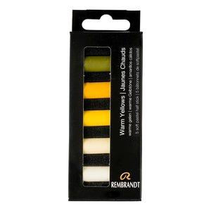Warme Gelen set met 5 halve Rembrandt Softpastels