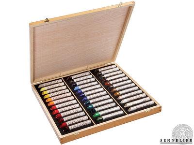 Houten kist met 36 sticks Oil Stick van Sennelier  Set 124