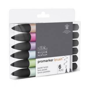 Promarker Brush 6 x Pastel Tones van Winsor & Newton Set 125