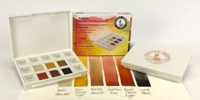 Earth Colors Set  Daniel Smith 6 Halve napjes Aquarelverf / half pans Watercolour Set 002