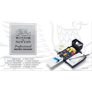Luxe koffer set 12 halve napjes Professioneel Aquarelverf van Winsor & Newton  Set 685