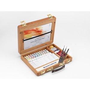 Luxe houten koffer 12 tubes 5 ml & accessoires Professioneel Aquarelverf van Winsor & Newton  Set 692