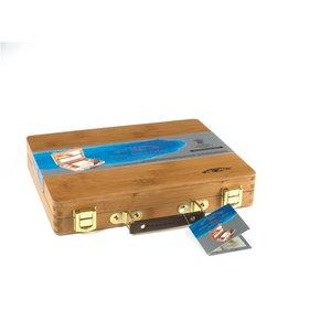 Bamboe kist 12 halve napjes & accessoires Professioneel Aquarelverf van Winsor & Newton  Set 693