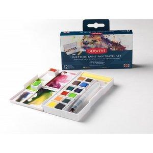 12 kleuren in halve napjes Inktense Pan Travel Set #1 van Derwent