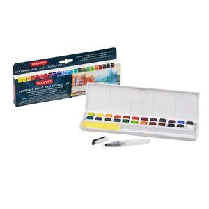 24 kleuren in halve napjes Inktense pan set van Derwent