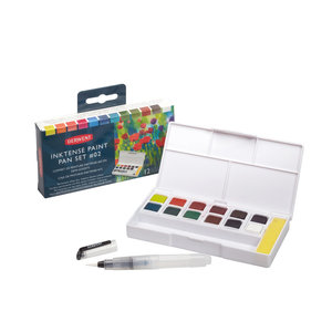 12 kleuren in halve napjes Inktense Pan Travel Set Nr. 2 van Derwent
