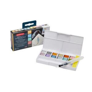 12 kleuren in halve napjes Metallic Paint 12 Pan Travel set van Derwent