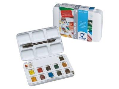 Pocket Box + accessoires 12 napjes Van Gogh Aquarelverf Set P631
