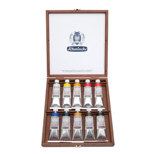10 x 35 ml in houten kistje Schmincke Mussini olieverf set 70010700100974012380174376