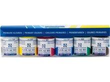 Plakkaatverf Primaire kleuren set Extra fijn (Gouacche Extra fine) Royal Talens  6 x 16 ml flacons